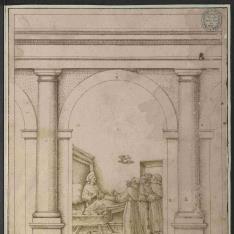 Arquería con columnas de orden toscano sobre pedestales