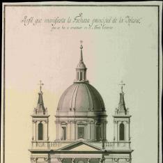 Alzado principal de la iglesia parroquial de San Fernando en el Monte Torrero de Zaragoza