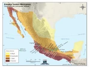 Mapa sísmico de México. INEGI de México