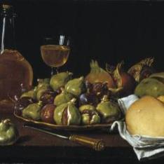 Bodegón: pan, granadas, higos y objetos