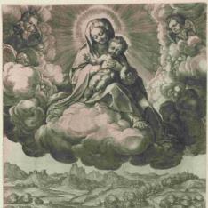 Virgen con el Niño sobre unas nubes