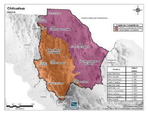 Mapa en color de montañas de Chihuahua. INEGI de México