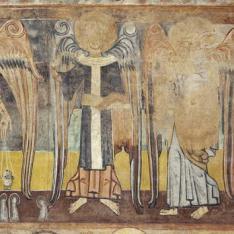 Los evangelistas San Mateo y San Lucas. Pintura mural de la Iglesia de la Vera Cruz de Maderuelo.
