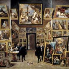 El archiduque Leopoldo Guillermo en su galería de pinturas en Bruselas