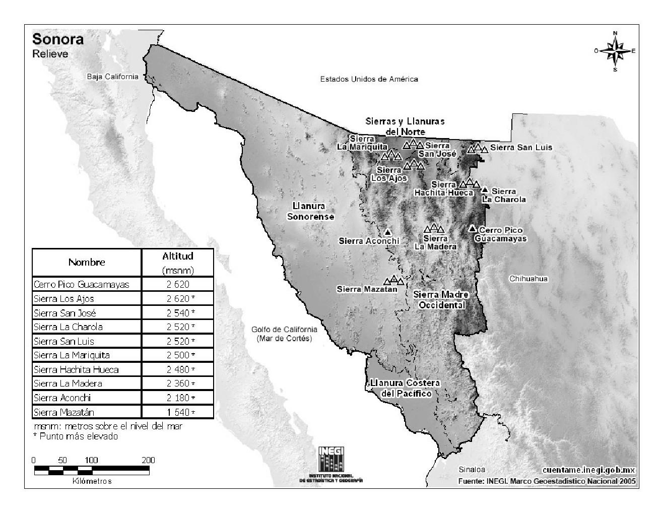 Mapa de montañas de Sonora. INEGI de México