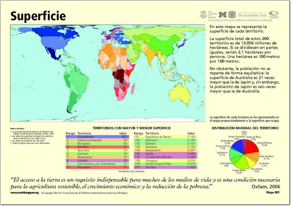 Mapa de países del Mundo. Superficie. Worldmapper