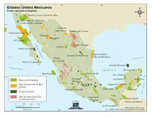 Mapa de áreas naturales de México. INEGI de México