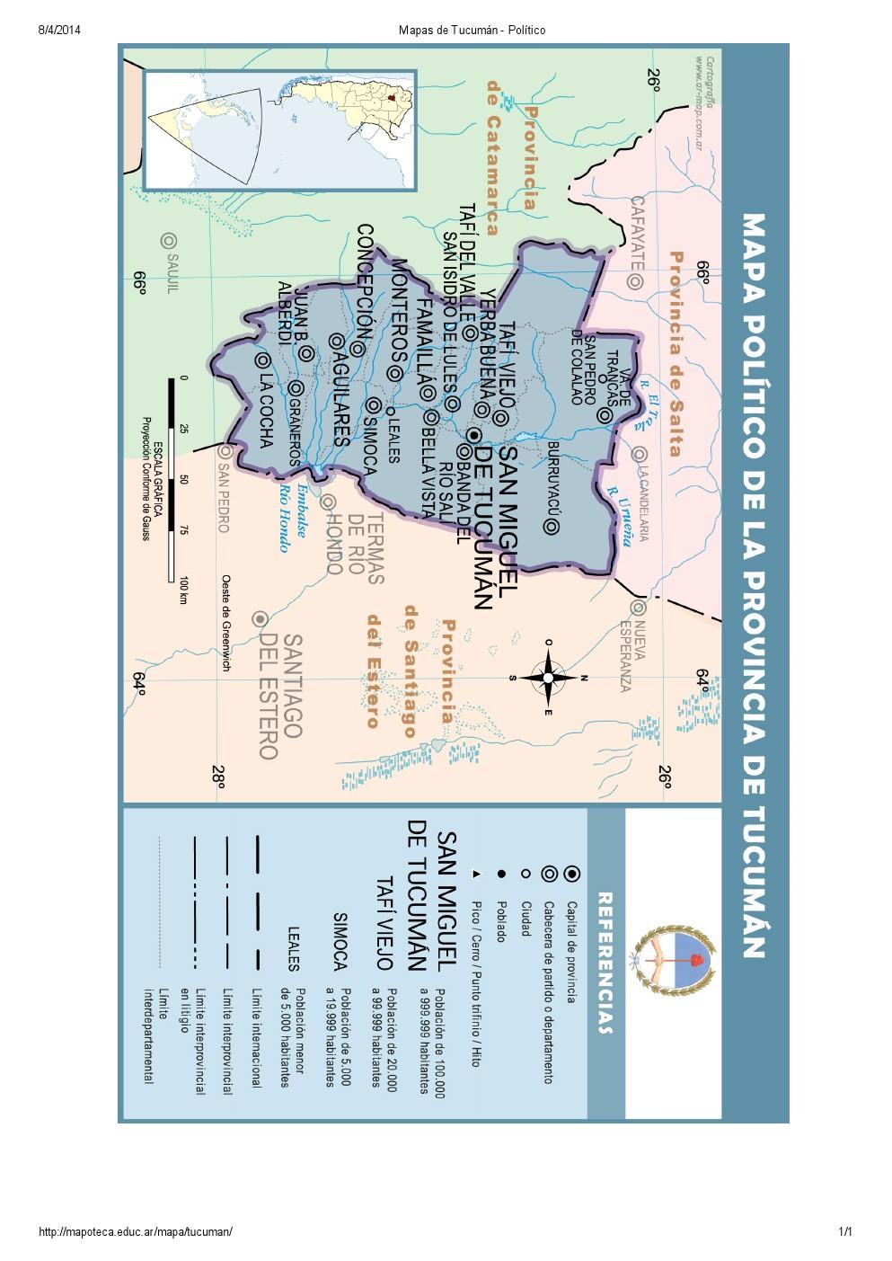 Mapa de capitales de Tucumán. Mapoteca de Educ.ar
