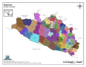 Mapa en color de los municipios de Guerrero. INEGI de México