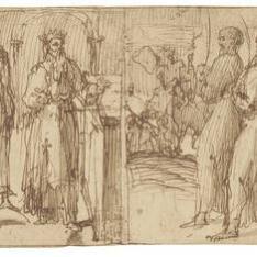 El rey David ante un altar acompañado por su séquito (¿?) y sacerdotes en procesión [siguiendo el Arca de la Alianza (¿?)]