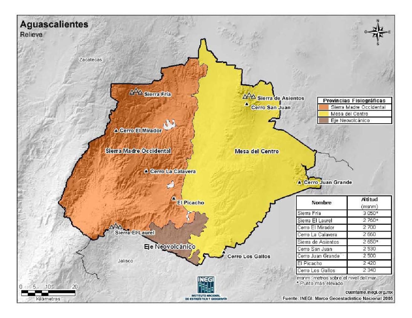 Mapa en color de montañas de Aguascalientes. INEGI de México