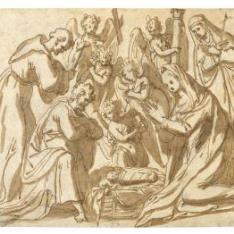 """""""La Natividad, con San Francisco y una monja santa; detrás ángeles portando los símbolos de la Pasión"""""""