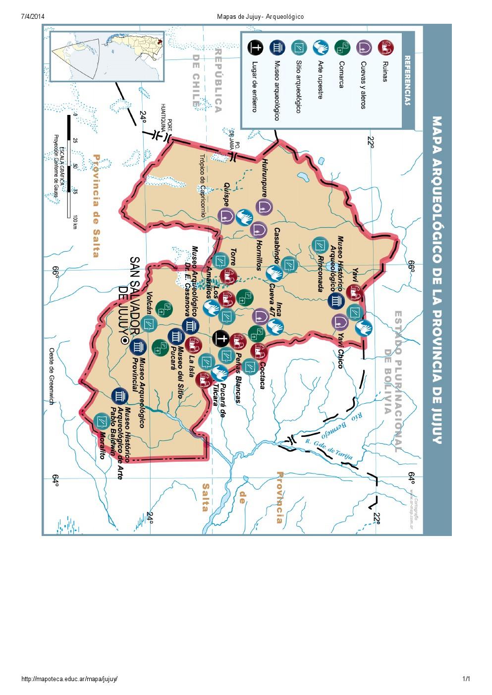 Mapa arqueológico de Jujuy. Mapoteca de Educ.ar