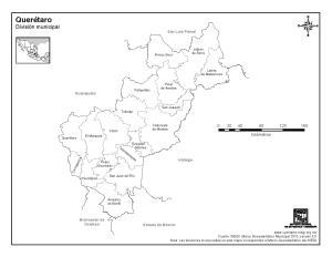 Mapa de municipios de Querétaro. INEGI de México