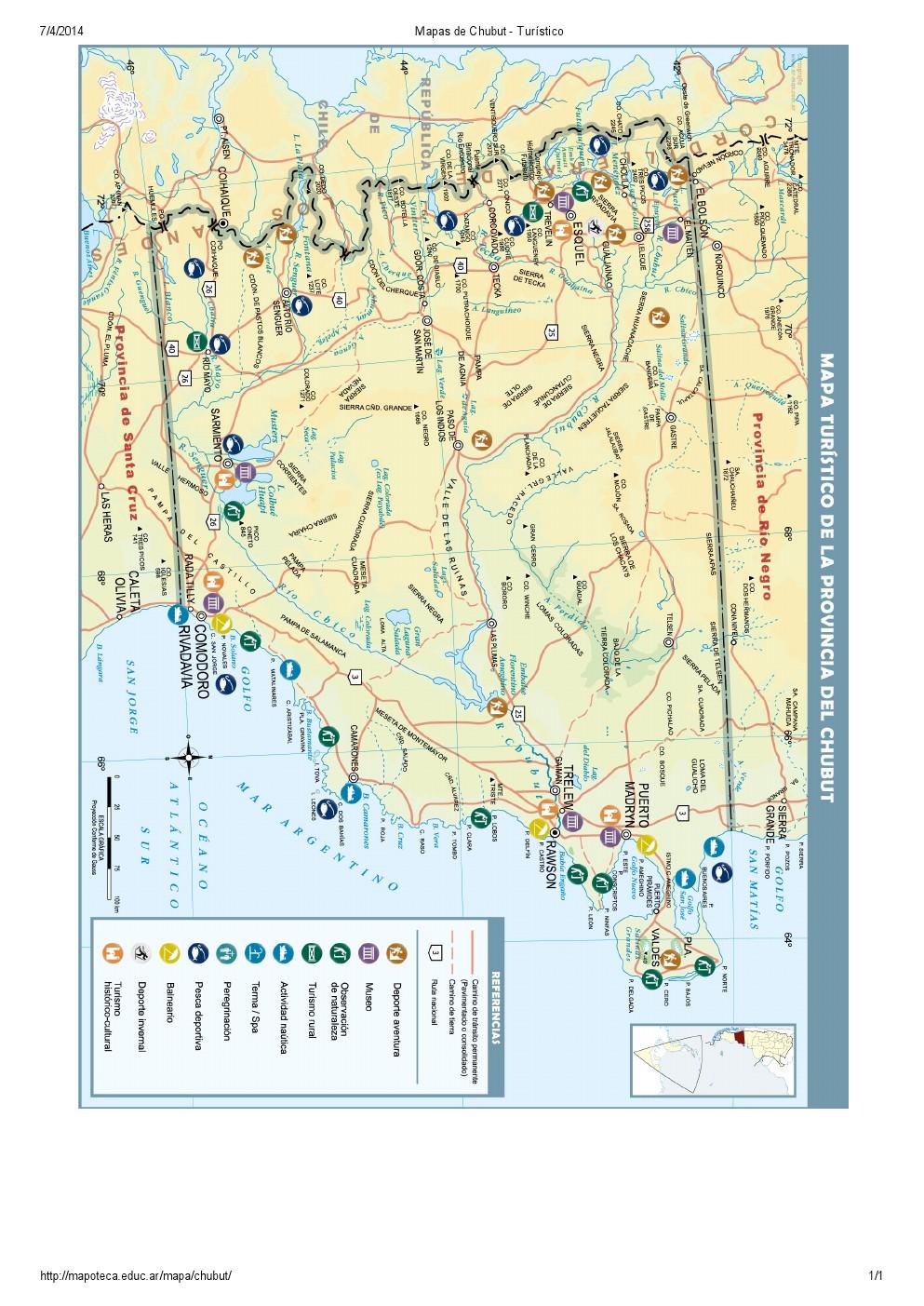 Mapa turístico del Chubut. Mapoteca de Educ.ar