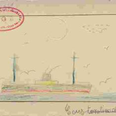 Barco con gaviotas
