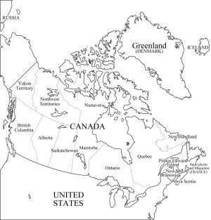 Mapa de provincias y territorios de Canadá. Freemap