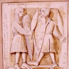 Detalle de un capitel de la Ermita de Santiago, Agüero, Huesca