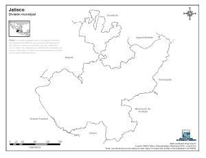 Mapa mudo de Jalisco. INEGI de México