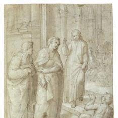 El joven Jesús saliendo del Templo tras su discusión con los Doctores, acompañado por la Virgen María y San José.