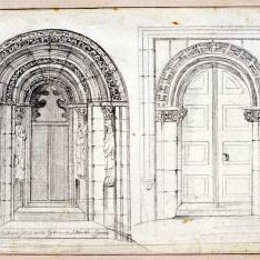 Portada principal de la iglesia de San Martín de Segovia y otra sin identificar