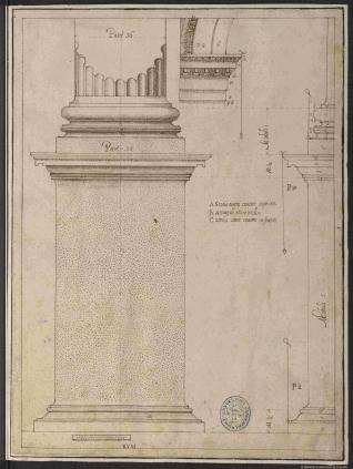 Pedestal y basa del orden jónico