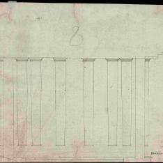 Proyecto de un patio, fachada y sección de un interior, posiblemente para el Monasterio de la Visitación (Salesas Reales) de Madrid