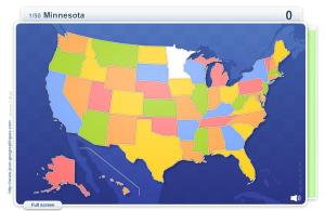 States of USA . Geography map games