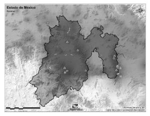 Mapa mudo de montañas del Estado de México. INEGI de México
