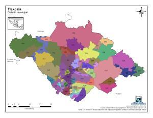 Mapa en color de los municipios de Tlaxcala. INEGI de México