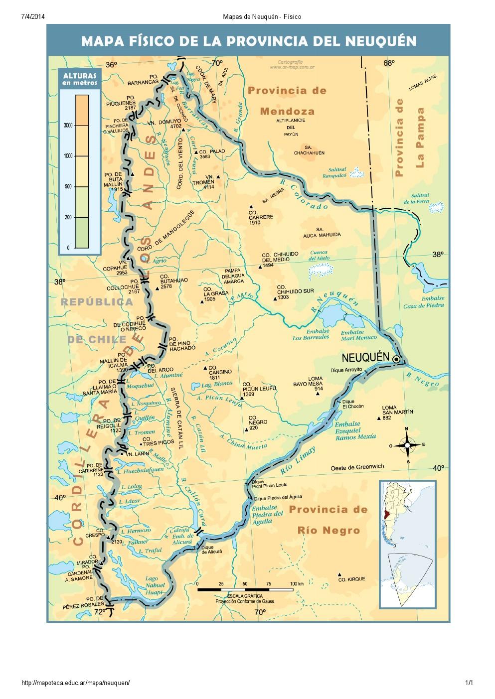 Mapa de ríos de Neuquén. Mapoteca de Educ.ar