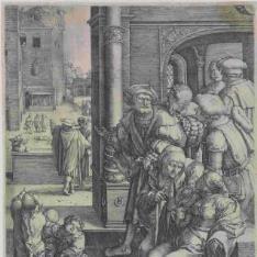 El poeta Virgilio suspendido de un cesto