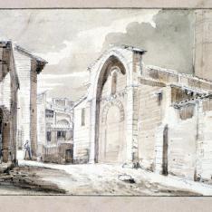 Vista urbana de Huesca con la iglesia de San Pedro el Viejo