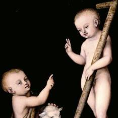 El Niño Jesús vencedor sobre la muerte y el pecado, con San Juanito