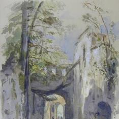 Interior de un castillo o ciudadela