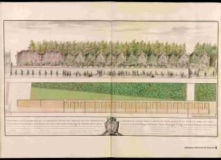 Alzado y planta de la terraza del Louvre con las tiendas levantadas para el séquito de sus Majestades y la corporación de la Villa de París