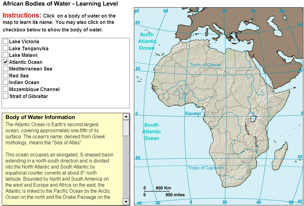 Map Of Africa Bodies Of Water.Interactive Map Of Africa Oceans And Lakes Of Africa Tutorial