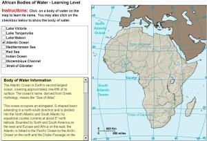 Oceans and lakes of Africa. Tutorial. Sheppard Software