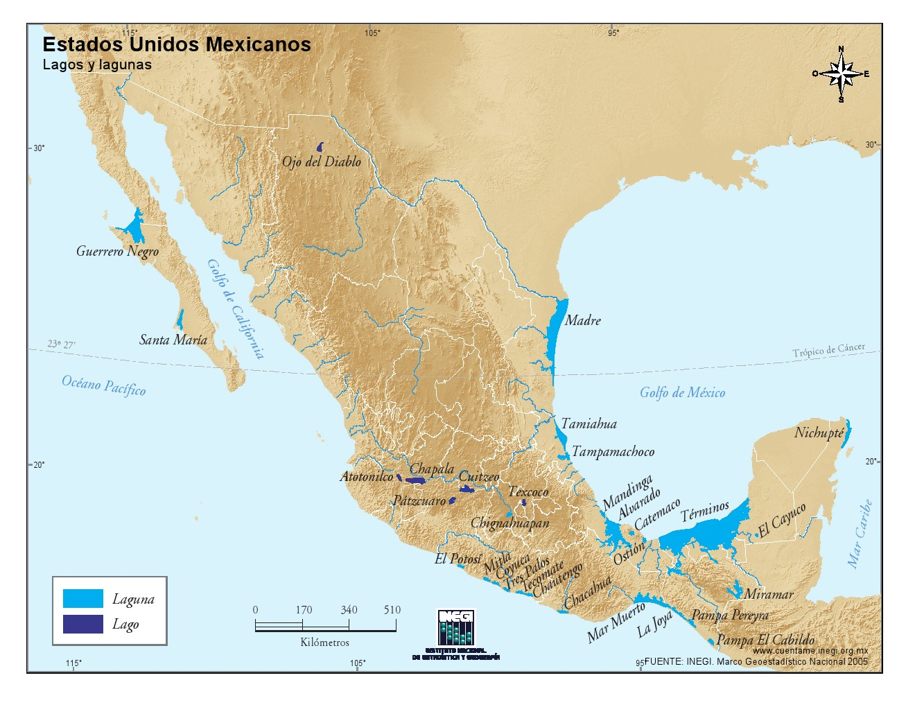 Mapa de lagos de México. INEGI de México