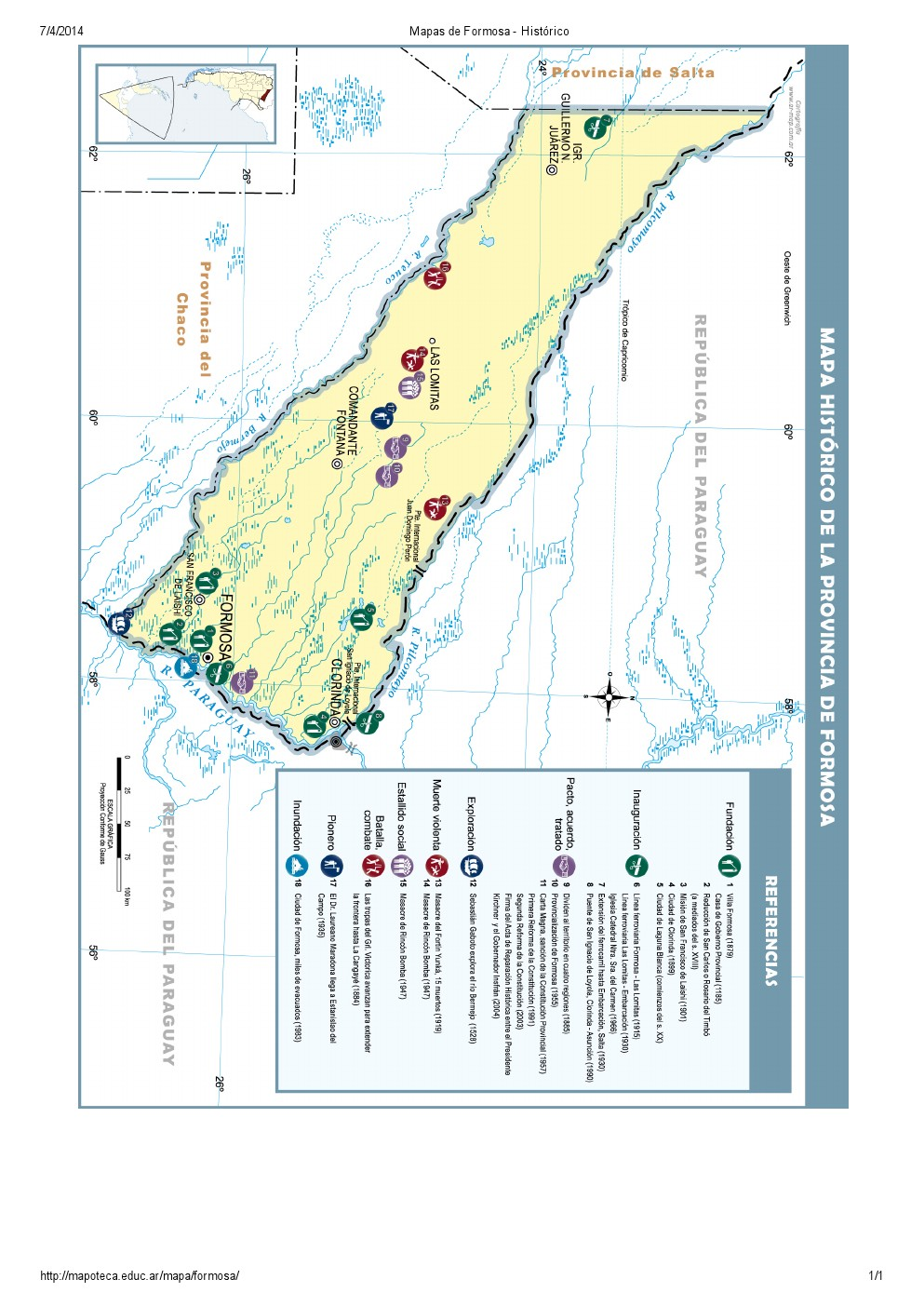 Mapa histórico de Formosa. Mapoteca de Educ.ar