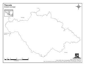 Mapa mudo de Tlaxcala. INEGI de México