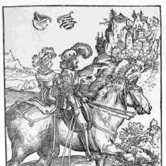 Pareja de nobles a caballo