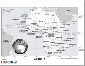Mapa de países y ciudades de África. National Geographic