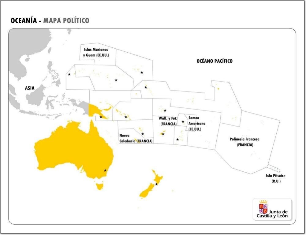 Mapa Oceania Fisico Mudo.Mapa Politico Mudo De Oceania Mapa De Paises Y Capitales De