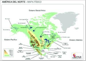 Mapa de relieve de América del Norte. JCyL