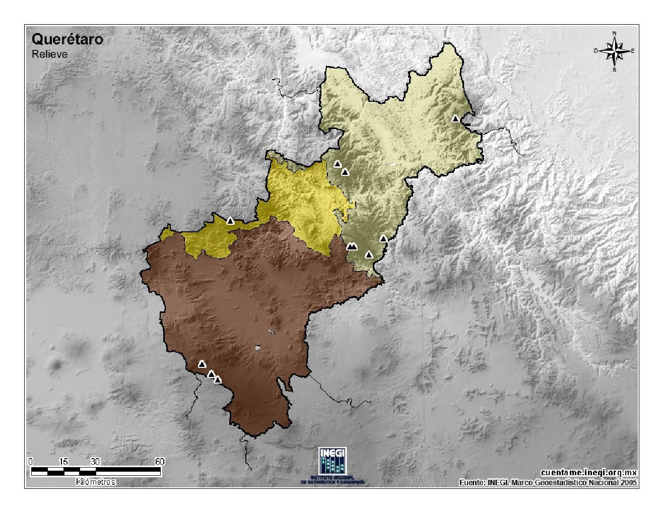 Mapa mudo de montañas de Querétaro. INEGI de México