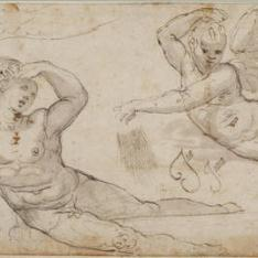 Estudios de desnudo masculino recostado