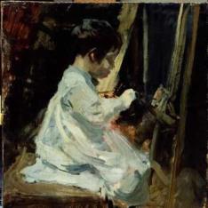 Joaquín pintando