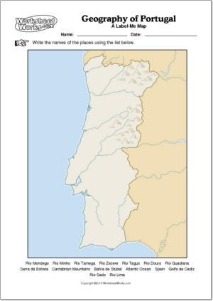Mapa mudo de ríos y montañas de Portugal. WorksheetWorks