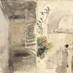 Interior de un claustro y un sepulcro
